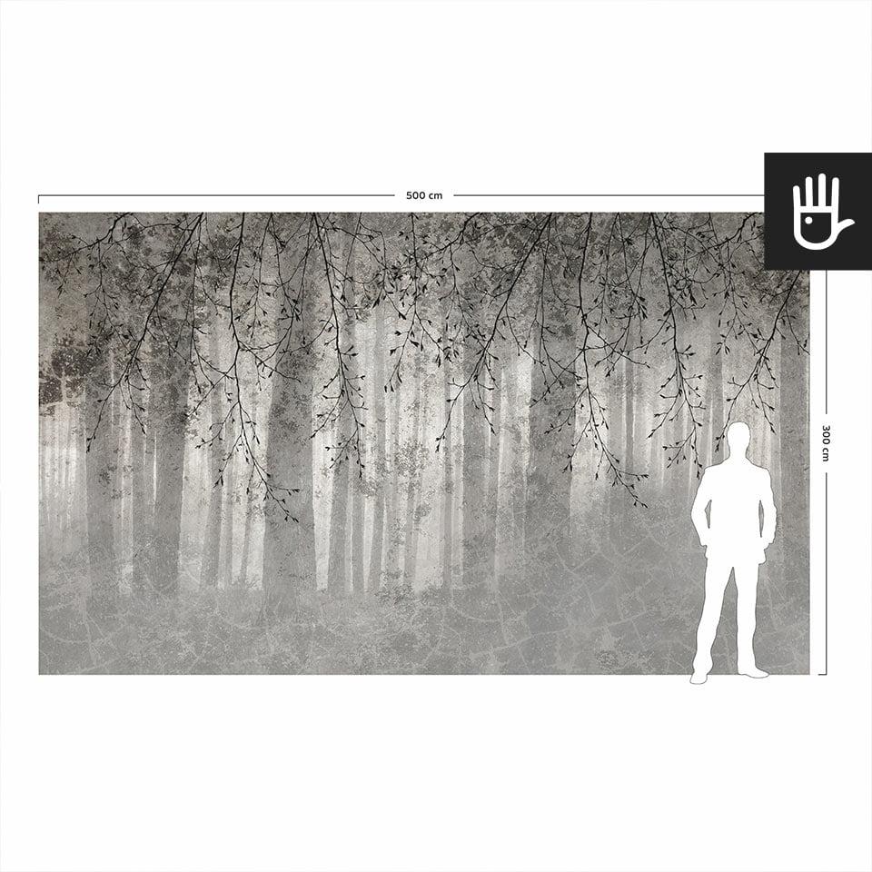 Wizualizacja skali fototapety ściennej echo lasu w porównaniu do postaci dorosłego człowieka