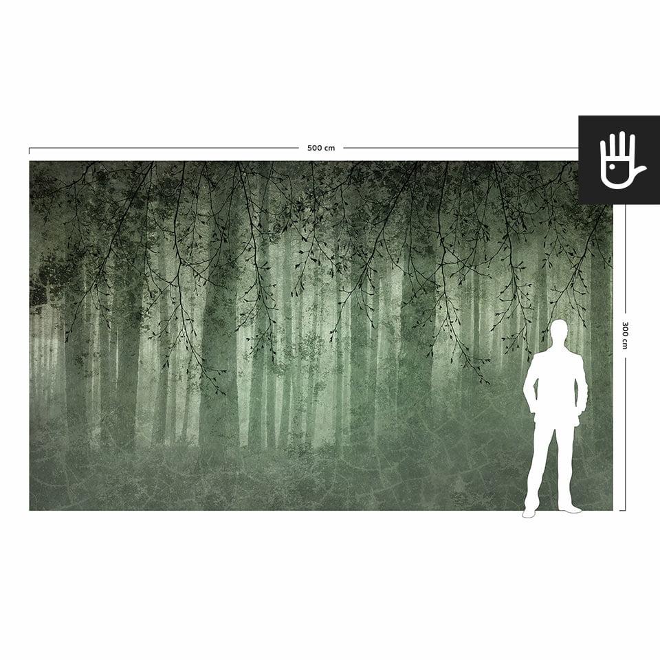 Wizualizacja skali fototapety ściennej zielone echo lasu w porównaniu do postaci dorosłego człowieka