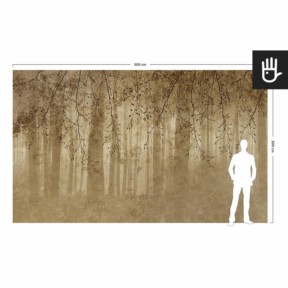 Wizualizacja skali fototapety ściennej złote echo lasu w porównaniu do postaci dorosłego człowieka